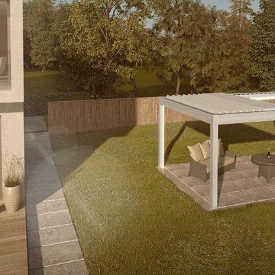 Sitzbereich ist im Garten mit einem grauen Lamellendach überdacht